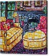 Yello Sofa Acrylic Print by Linda Vaughon