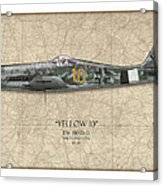 Yellow 10 Focke-wulf Fw190d - Map Background Acrylic Print by Craig Tinder
