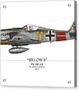 Yellow 11 Focke-wulf Fw 190 - White Background Acrylic Print by Craig Tinder