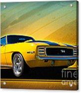 Yellow 1969 Camaro Ss Acrylic Print