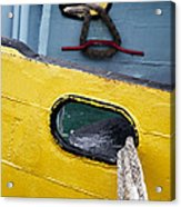 Yellow And Blue Boat Acrylic Print