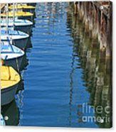 Yellow And Blue Sailboats From The Book My Ocean Acrylic Print by Artist and Photographer Laura Wrede