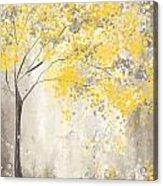 Yellow And Gray Tree Acrylic Print