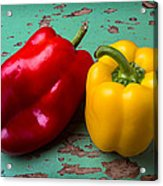 Yellow And Red Bell Pepper Acrylic Print
