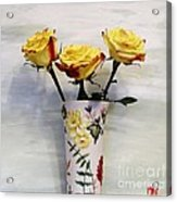 Yellow And Red Tipped Roses Acrylic Print by Marsha Heiken