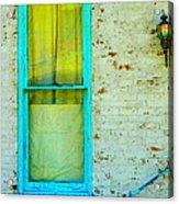 Art Deco Lamp And Yellow And Turquoise Window Acrylic Print