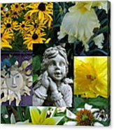 Yellow And White Flower Collage Acrylic Print