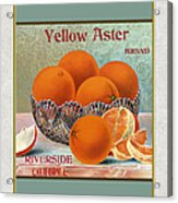Yellow Aster Brand Oranges Vertical Acrylic Print