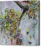 Yellow Blossoms Painting Flowr Butterflies Art Abstract Modern Spring Color Flower Art Acrylic Print