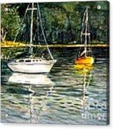 Yellow Boat Sister Bay Acrylic Print