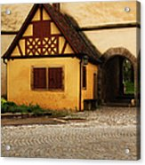 Yellow Building And Wall In Rothenburg Germany Acrylic Print