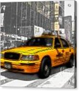 Yellow Cab At The Times Square -comic Acrylic Print
