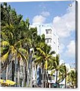 Yellow Cabs On Ocean Drive Acrylic Print