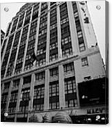 Yellow Cabs Outside Macys Department Store 7th Avenue And 34th Street Entrance New York Acrylic Print