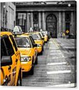 Yellow Cabs Waiting - Grand Central Terminal - Bw O Acrylic Print