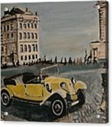 Yellow Car In Prague Acrylic Print