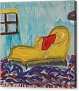 Yellow Chaise-red Pillow Acrylic Print