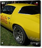 Yellow Classic Car Diablo At The Show Acrylic Print