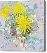 Yellow Dahlias And Peruvian Lilies Acrylic Print