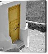 Yellow Door Of Oia Acrylic Print