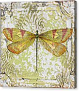 Yellow Dragonfly On Vintage Tin Acrylic Print