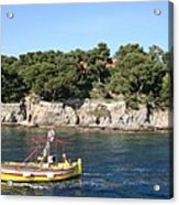 Yellow Fishing Boat - Cote D'azur Acrylic Print