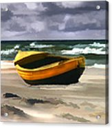 Yellow Fishing Dory Before The Storm Acrylic Print