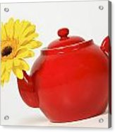 Yellow Flower In A Red Teapot Acrylic Print