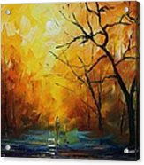 Yellow Fog 2 - Palette Knife Oil Painting On Canvas By Leonid Afremov Acrylic Print