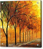 Yellow Fog - Palette Knife Oil Painting On Canvas By Leonid Afremov Acrylic Print