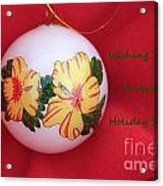 Yellow Hibiscus Christmas Bulb Acrylic Print