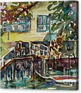 Yellow House By The River Acrylic Print