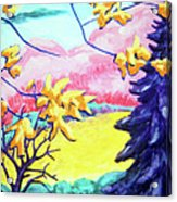 Yellow Leaves On Pink Hills Acrylic Print