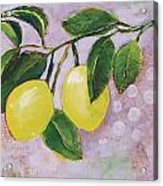 Yellow Lemons On Purple Orchid Acrylic Print by Jen Norton