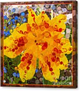 Yellow Lily With Streaks Of Red Abstract Painting Flower Art Acrylic Print