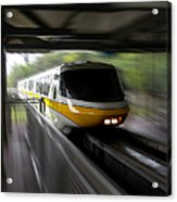 Yellow Monorail Entering The Station 02 Acrylic Print