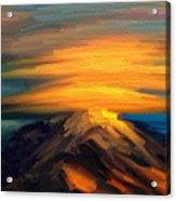 Yellow Mountaintop Hugged By Yellow Cloud  Acrylic Print