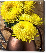 Yellow Mums In Copper Vase Acrylic Print by Garry Gay