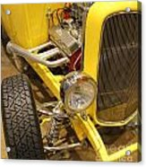 Street Car - Yellow Open Engine Acrylic Print