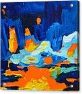 Yellow Orange Blue Sunset Landscape Acrylic Print
