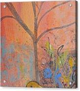 Yellow Peace Bird On Orange Acrylic Print