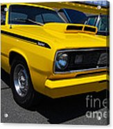 Yellow Plymouth Duster Acrylic Print