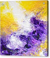 Yellow Purple Inspirational Color Energy Original Abstract Painting Tide Of Time By Chakramoon Acrylic Print