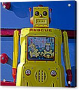 Yellow Robot In Front Of Drawers Acrylic Print by Garry Gay