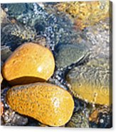 Yellow Rocks At Lake Shore Acrylic Print