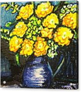 Yellow Roses In Blue Vase Acrylic Print