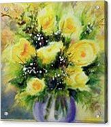 Yellow Roses Acrylic Print by Kathy Braud