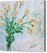 Yellow Roses Acrylic Print by Molly Roberts