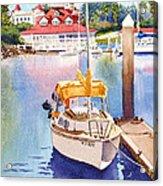 Yellow Sailboat And Coronado Boathouse Acrylic Print by Mary Helmreich