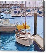 Yellow Sailboat Oceanside Acrylic Print